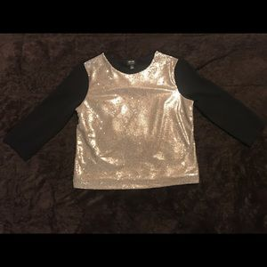Nicole by Nicole Miller Black and Gold Sequin Top